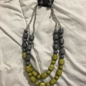 Grey and Green Rock Necklace and Earring Set